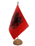 Albania Desk / Table Flag with wooden stand and base